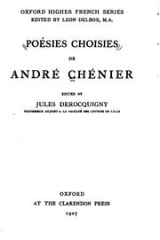 Cover of: Poesies choisies de Andre Chenier