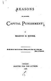 Cover of: Reasons for abolishing capital punishment | Marvin H. Bovee