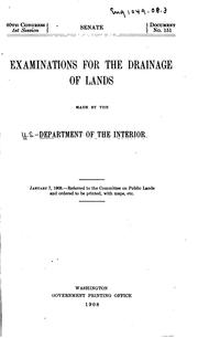 Cover of: Examinations for the drainage of lands | United States. Dept. of the Interior.