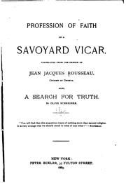 Cover of: Profession of faith of a Savoyard vicar | Jean-Jacques Rousseau