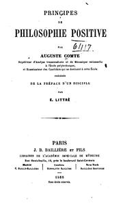 Cover of: Principes de philosophie positive