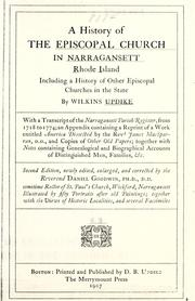 Cover of: history of the Episcopal church in Narragansett, Rhode Island | Wilkins Updike
