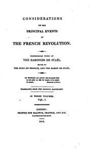 Cover of: Considerations on the principal events of the French revolution