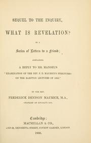 Cover of: Sequel to the inquiry, What is revelation? in a series of letters to a friend