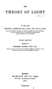 Cover of: theory of light | Preston, Thomas