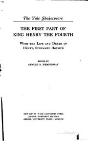 Cover of: The first part of King Henry the Fourth by William Shakespeare