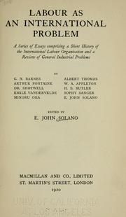 Cover of: Labour as an international problem | E. John Solano
