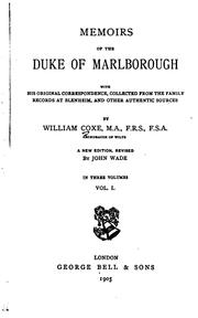 Memoirs of the Duke of Marlborough by Coxe, William