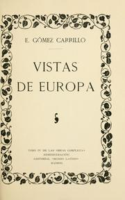 Cover of: Vistas de Europa ..