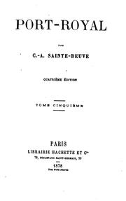 Cover of: Port-Royal by Charles Augustin Sainte-Beuve