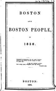 Cover of: Boston and Boston people in 1850 | Harriet Hosmer