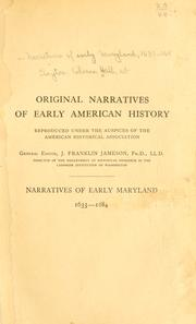 Cover of: Narratives of early Maryland, 1633-1684 | Clayton Colman Hall