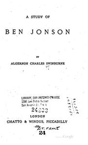 Cover of: study of Ben Jonson | Algernon Charles Swinburne