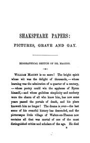 Cover of: Shakspeare papers: Pictures grave and gay ... | William Maginn