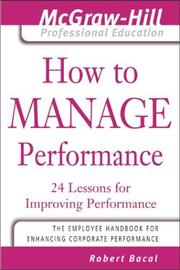 Cover of: How to manage performance