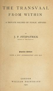 Cover of: The Transvaal from within | Fitzpatrick, Percy Sir