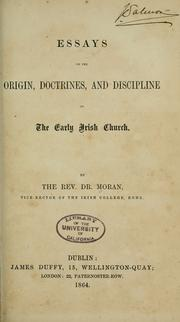 Cover of: Essays on the origin, doctrines, and discipline of the early Irish church