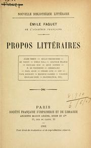 Cover of: Propos littéraires