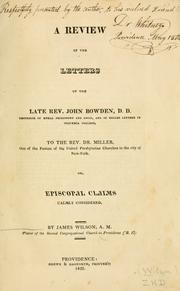 Cover of: A review of the letters of the late Rev. John Bowden, D.D