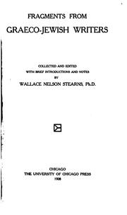 Cover of: Fragments from Graeco-Jewish writers | Wallace N. Stearns