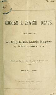Cover of: Zionism & Jewish ideals