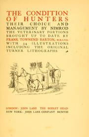 Cover of: The condition of hunters | Nimrod.