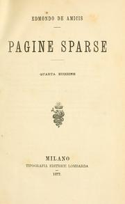 Cover of: Pagine sparse