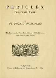 Cover of: Pericles, Prince of Tyre by William Shakespeare