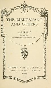 "Cover of: The lieutenant and others: by ""Sapper""."