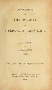 Cover of: Proceedings. | Society of Biblical Archæology (London, England)