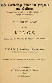 Cover of: first book of Kings | Joseph Rawson Lumby