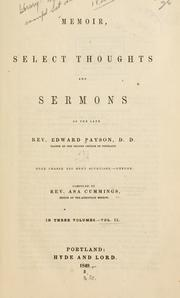 Cover of: Memoir, select thoughts and sermons