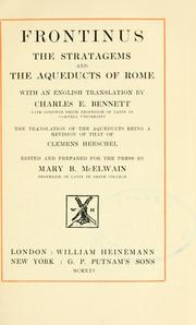 Cover of: The Stratagems, and the Aqueducts of Rome, with an English translation