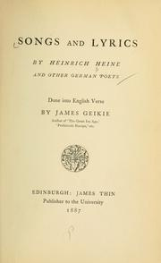 Cover of: Songs and lyrics