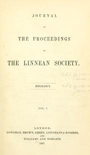 Cover of: Journal of the proceedings of the Linnean Society. | Linnean Society of London