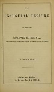 Cover of: An inaugural lecture