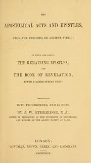 Cover of: The apostolical Acts and Epistles, from the Peschito |