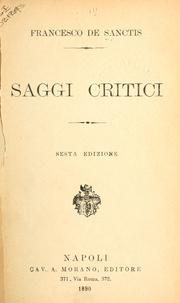 Cover of: Saggi critici