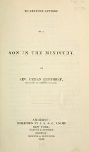 Cover of: Thirty-four letters to a son in the ministry