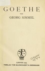 Goethe by Georg Simmel