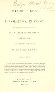 Cover of: Minor poems, and translations, in verse | Munro, Robert