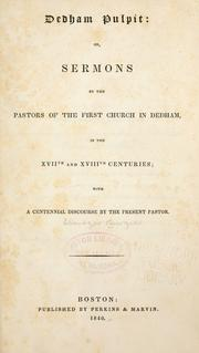 Cover of: Dedham pulpit
