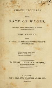 Cover of: Three lectures on the rate of wages