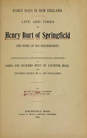 Cover of: Early days in New England | Henry M. Burt