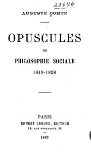Cover of: Opuscules de philosophie sociale, 1819-1828