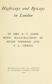 Cover of: Highways and byways in London | Emily Constance Baird Cook