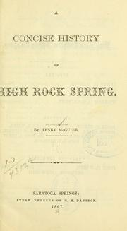 Cover of: concise history of High Rock Spring. | Henry McGuier
