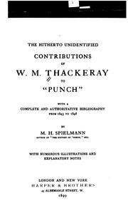"Cover of: The hitherto unidentified contributions of W.M. Thackeray to ""Punch"": with a complete and authoritative bibliography from 1843 to 1848"
