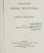 Cover of: English prose writings of John Milton