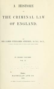 Cover of: A history of the criminal law of England